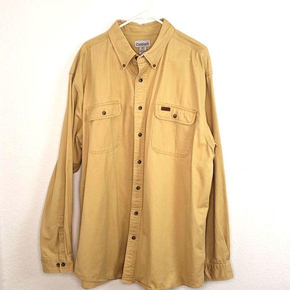Carhartt Other - Carhartt men's Khaki Heavy-weight Button-up Shirt